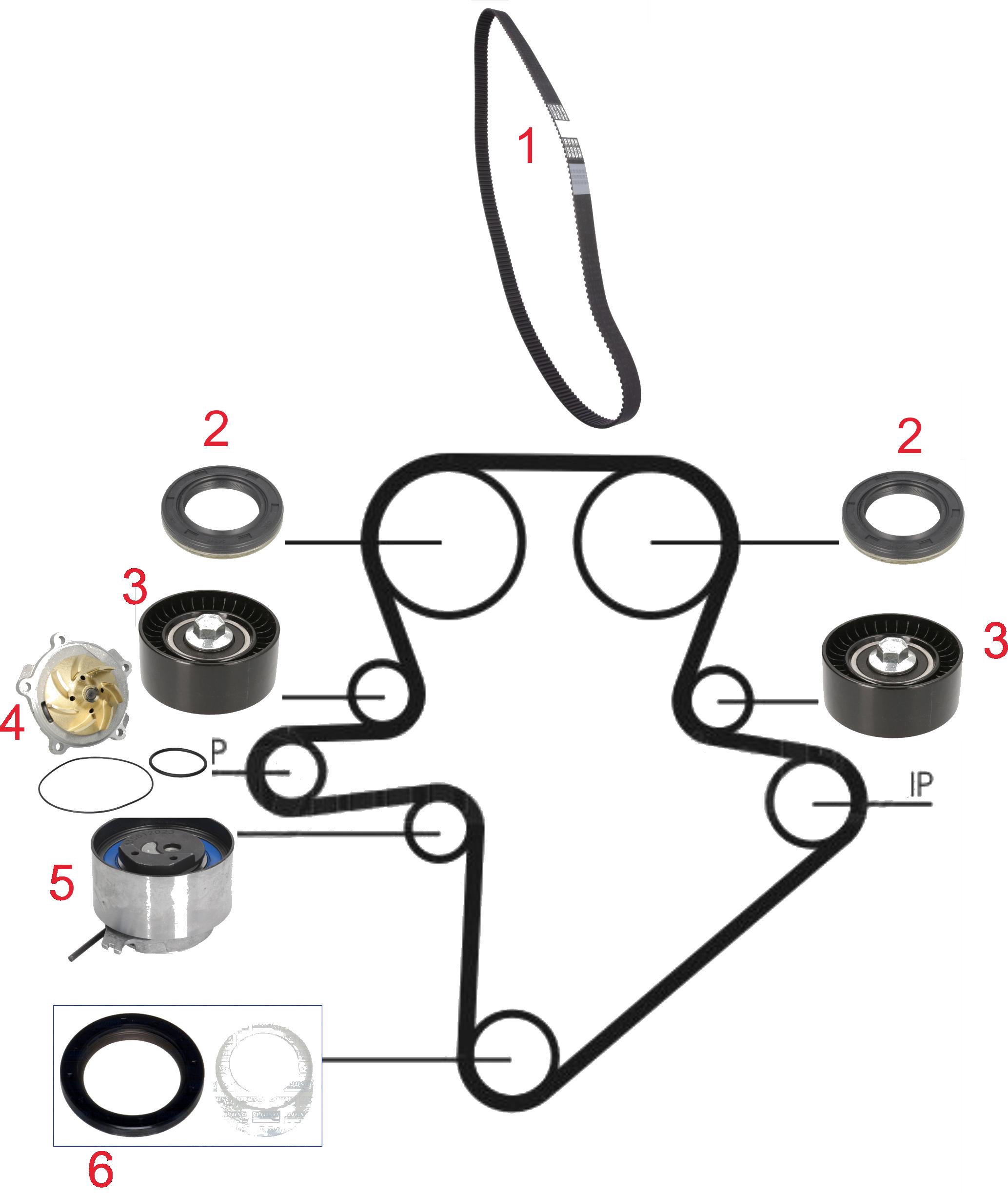 Pagrindinio diržo komplekto sudedamosios dalys